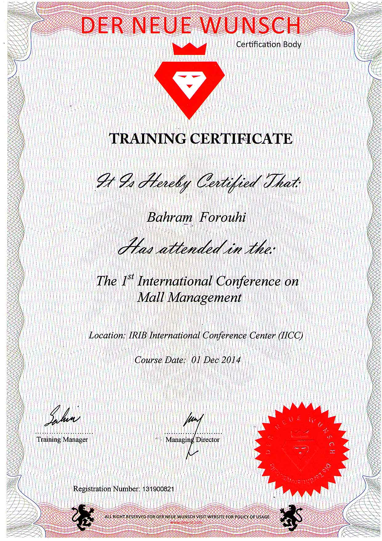 Certificates the first international conference onmall management 1betcityfo Gallery